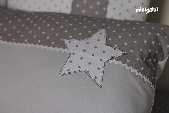 Estrella bordada puntada festón